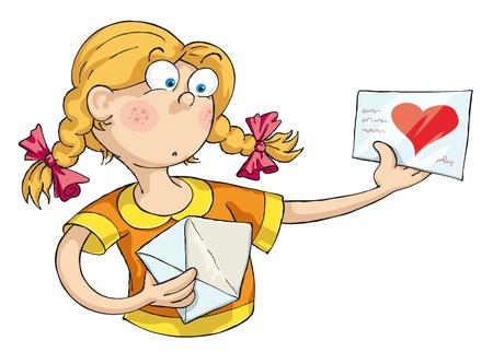 avergonzado: La niña recibió una carta de amor y ella se sorprendió.