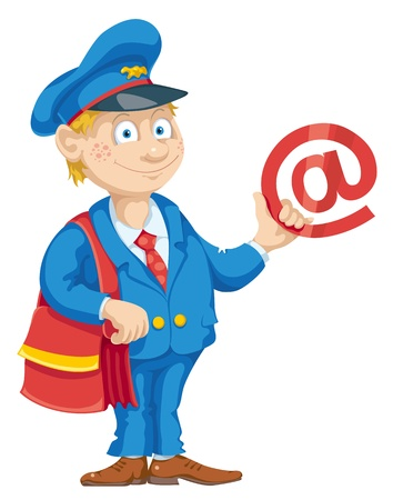 Postman with mail bag and message.