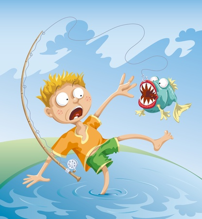 lake shore: The fisherman caught a terrible fish and they both were very frightened.