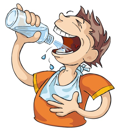 Very thirsty man drinks water. Illustration