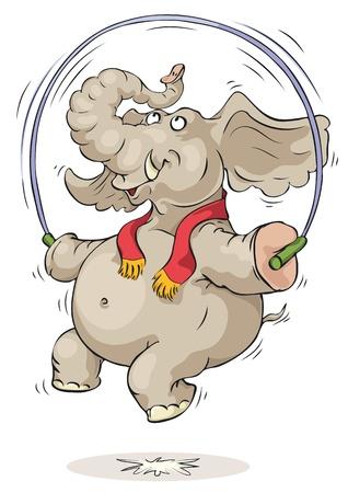 Happy elephant jumping over jump rope. Çizim