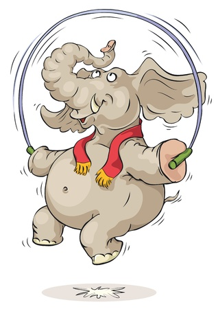 humor jump: Happy elephant jumping over jump rope. Illustration