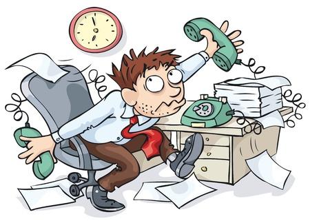 jornada de trabajo: Empleado de oficina trabajando duro y esperando el final de la jornada laboral. Vectores