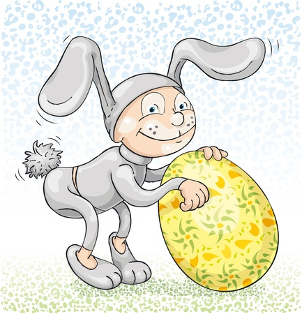 A man wearing Easter rabbit costume and rolling Easter egg. Illustration