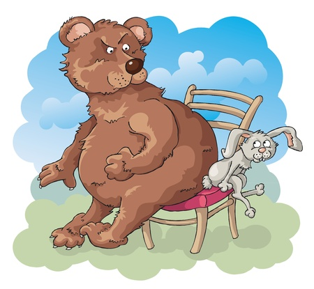 big and small: The Fierce Competition. The bear and the rabbit is trying to sit on the one chair. Illustration