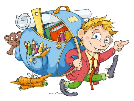 Cheerful student with a big backpack goes to school.