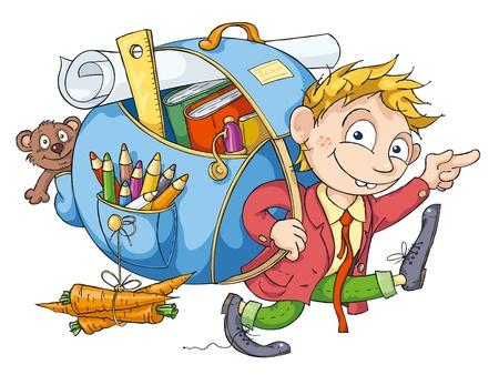 escuela caricatura: Estudiante alegre con una mochila grande va a la escuela.