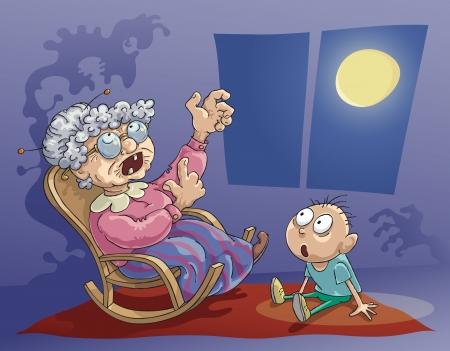 Grootmoeder vertelt het gruwelijke verhaal aan haar kleinzoon in de avond.