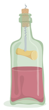 Half Bottle of Wine with corkscrew inside. Editable vector EPS 10 file. Transparency effect are used on reflections and shadow of bottle.