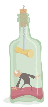 Drunkard inside the bottle, editable vector EPS 8 file. Stock Vector - 16590664