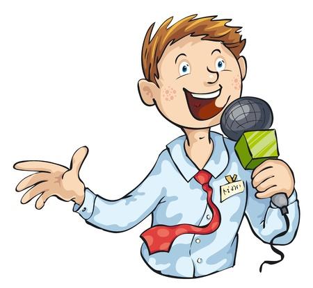 reporter: Journaliste avec microphone isol� sur fond blanc. Illustration