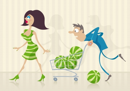 mart: The guy became confused between the watermelons and woman in supermarket.