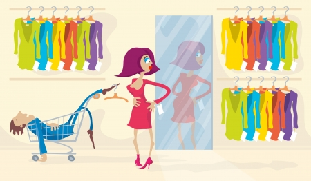 weary: Woman trying on red dress for a very long time, looking to mirror, standing in clothes store. Man bored and fell asleep.   Illustration