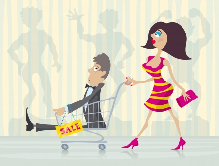 Charming woman with good buy in the trolley during big sale.   Vector