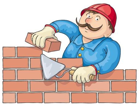 bricklayer: Mustachioed alba�il construye una pared de ladrillo rojo. Editables archivos.