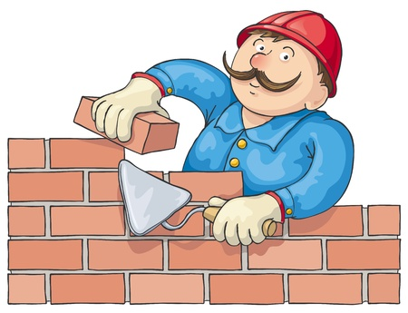 Mustachioed bricklayer builds a red brick wall. Editable file.