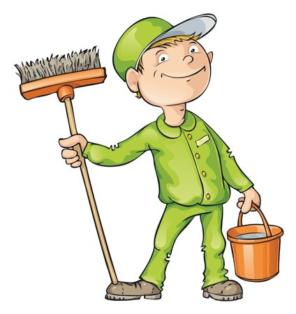broom: Cleaner holding a brush and a bucket. Editable   file.