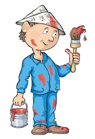Painter holding a paintbrush and can of paint. Editable   file. Çizim