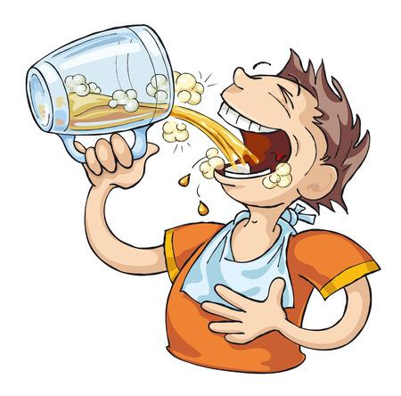 hombre tomando cerveza: Hombre muy sediento bebe cerveza