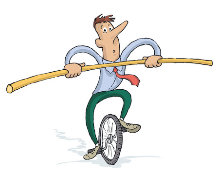Focused Businessman Riding a Unicycle With A Bar