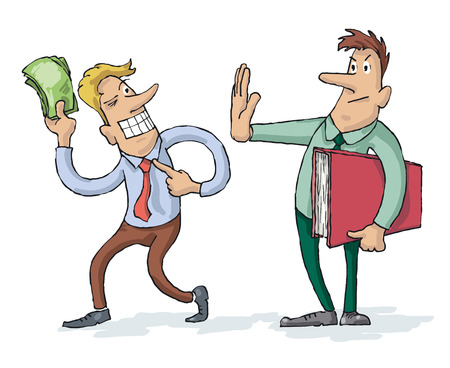 subornation: Man Unsuccessfully Trying to Bribe Officer, But Officer Refusing to Accept Suspicious Money Illustration
