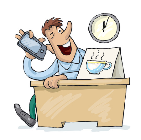 Office worker speaks on the phone during the coffee break Çizim
