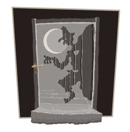 watch out: Wooden door in the moonlight looks like a thief