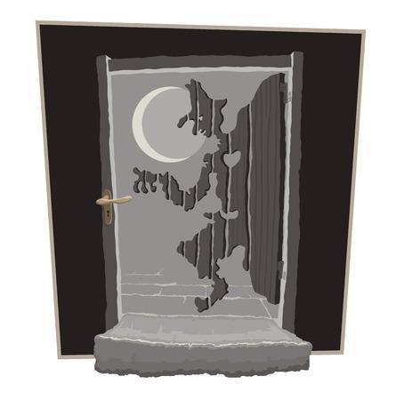 Wooden door in the moonlight looks like a thief