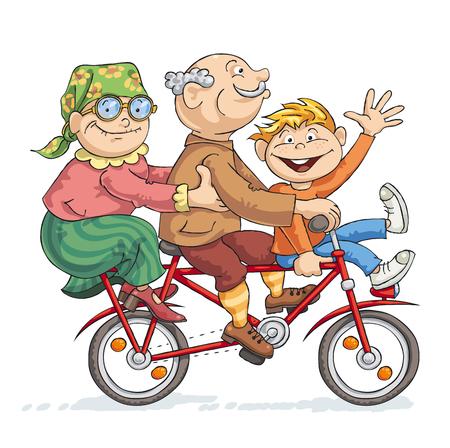 Grootvader, grootmoeder en hun kleinzoon rijdt op een rode fiets