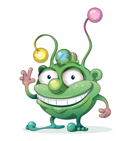 Smiling good-natured green monster waving hand