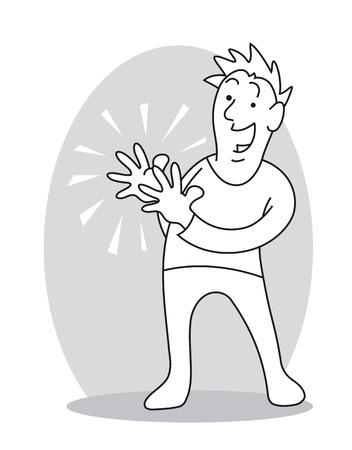 Smiling Man Clapping Hands. Cartoon vector illustration