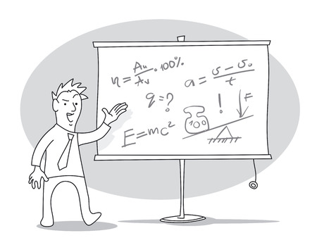 Man is giving a lecture in front of a whiteboard. Cartoon vector illustration