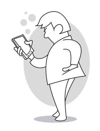 Man reading or writting text message on his phone. Cartoon vector illustration Çizim