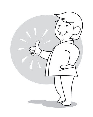 Man smiling and shows his thumb to show their appreciation. Cartoon vector illustration 일러스트