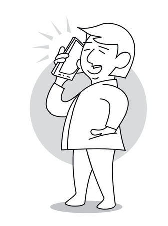 Man standing and talking on the mobile phone. Cartoon vector illustration