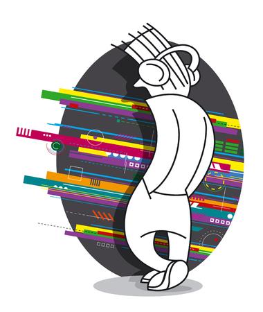Teenager with Headphones Listening to Music. Cartoon vector illustration Çizim