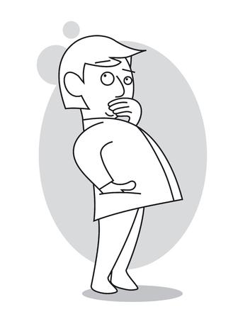 Homme pensant avec sa main sur sa bouche, debout et levant les yeux. Illustration vectorielle de dessin animé