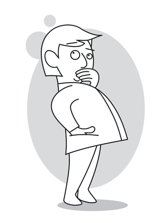 Thinking man with his hand on his mouth, standing and looking up. Cartoon vector illustration Illustration