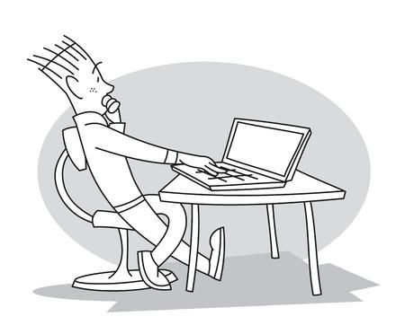 Joven sentado a la mesa frente a su computadora portátil, mirándola y pensando en su trabajo. Ilustración vectorial de dibujos animados Ilustración de vector