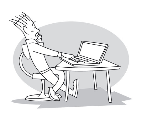 Young man sitting at table in front of his laptop, looking at it, and thinking about his work. Cartoon vector illustration Vetores