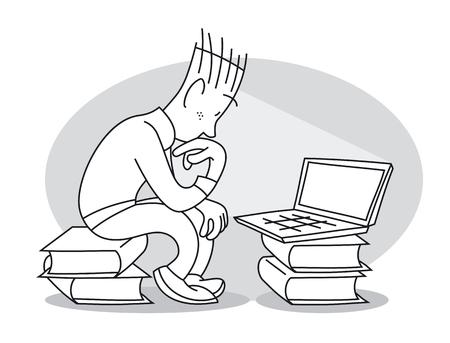 Hombre joven pensativo se sienta en la pila de libros y mira fijamente la computadora portátil. Ilustración vectorial de dibujos animados