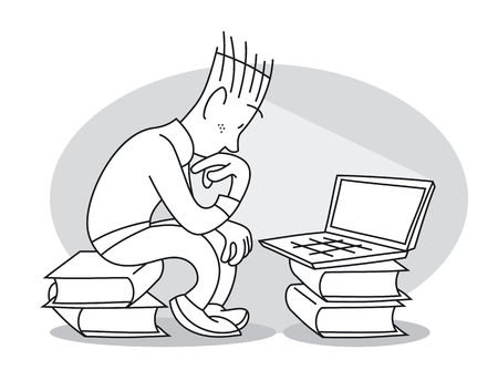 Thoughtful young man sits on stack of books and intently looks at laptop. Cartoon vector illustration