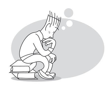 Denkender junger Mann sitzt auf Stapel Büchern. Cartoon-Vektor-Illustration
