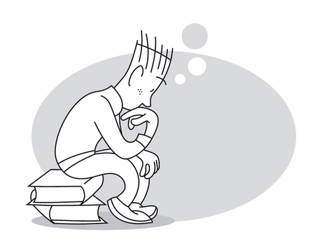 Thinking young man sits on stack of books. Cartoon vector illustration