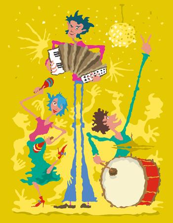 Musicians with Accordion, Drum and Maracas. Cartoon vector illustration