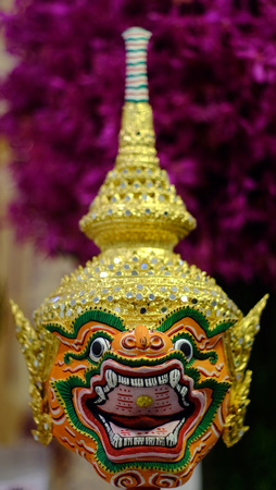 ramayana: Hua Khon Ancient Thai Show Mask use in Khon Thai classical style of Ramayana Story Stock Photo