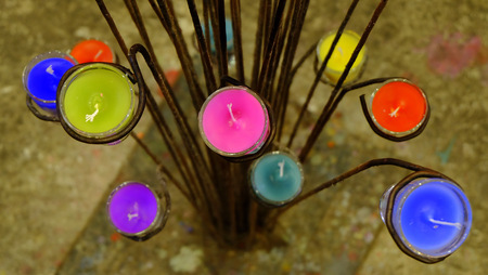 votive candle: colorful candle in glass