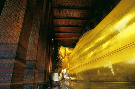 reclining buddha sculpture at Wat Pho, Thailand