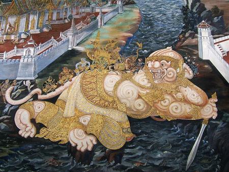 Thai Mural Painting at Wat Phra Kaew, Thailand photo