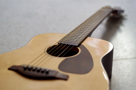 nylon string: closeup of acoustic guitar